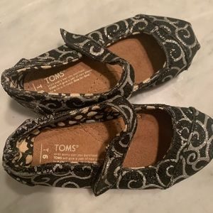 TOMS tiny mary jane flats glitter swirls velcro
